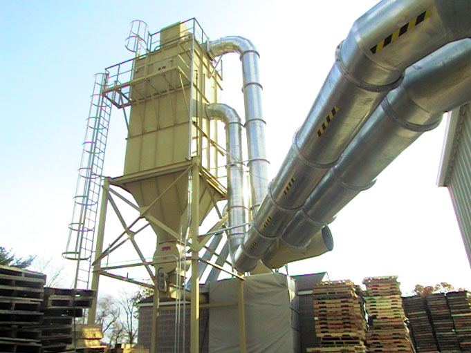 Industrial baghouse dust collectors for pallet companies